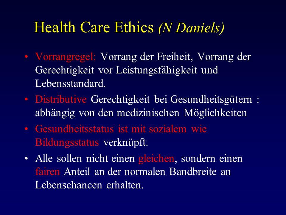 Health Care Ethics (N Daniels) Vorrangregel: Vorrang der Freiheit, Vorrang der Gerechtigkeit vor Leistungsfähigkeit und Lebensstandard.