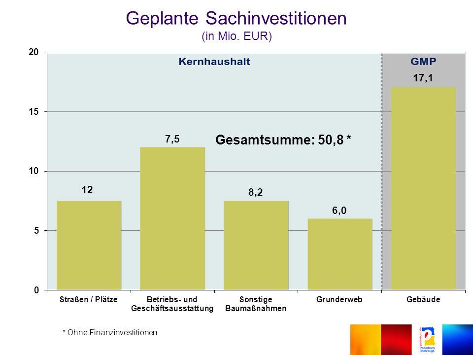 Geplante Sachinvestitionen (in Mio. EUR) Gesamtsumme: 50,8 *