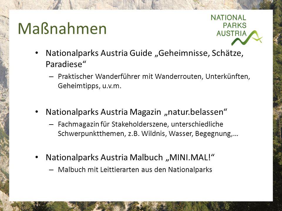 """Maßnahmen Nationalparks Austria Guide """"Geheimnisse, Schätze, Paradiese – Praktischer Wanderführer mit Wanderrouten, Unterkünften, Geheimtipps, u.v.m."""