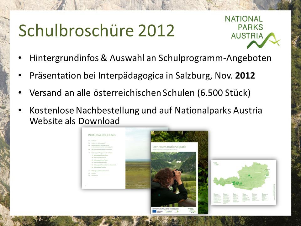 Schulbroschüre 2012 Hintergrundinfos & Auswahl an Schulprogramm-Angeboten Präsentation bei Interpädagogica in Salzburg, Nov.