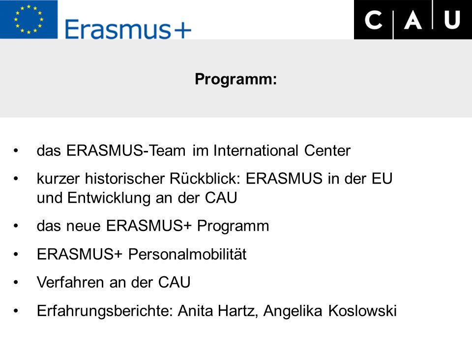Programm: das ERASMUS-Team im International Center kurzer historischer Rückblick: ERASMUS in der EU und Entwicklung an der CAU das neue ERASMUS+ Programm ERASMUS+ Personalmobilität Verfahren an der CAU Erfahrungsberichte: Anita Hartz, Angelika Koslowski