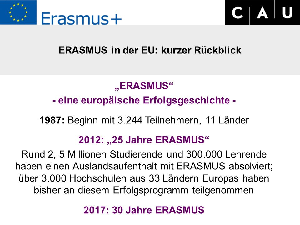 """""""ERASMUS - eine europäische Erfolgsgeschichte - 1987: Beginn mit 3.244 Teilnehmern, 11 Länder 2012: """"25 Jahre ERASMUS Rund 2, 5 Millionen Studierende und 300.000 Lehrende haben einen Auslandsaufenthalt mit ERASMUS absolviert; über 3.000 Hochschulen aus 33 Ländern Europas haben bisher an diesem Erfolgsprogramm teilgenommen 2017: 30 Jahre ERASMUS ERASMUS in der EU: kurzer Rückblick"""