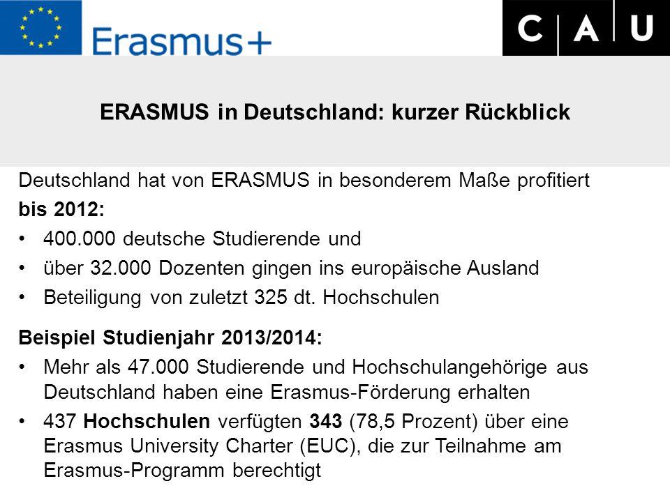 Deutschland hat von ERASMUS in besonderem Maße profitiert bis 2012: 400.000 deutsche Studierende und über 32.000 Dozenten gingen ins europäische Ausland Beteiligung von zuletzt 325 dt.