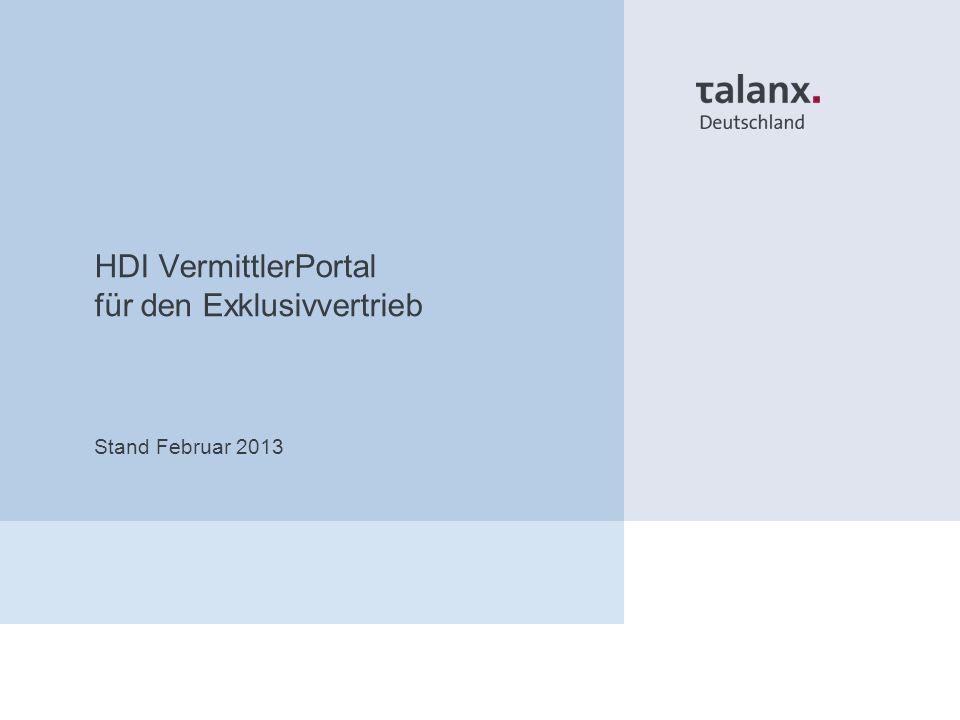 HDI VermittlerPortal für den Exklusivvertrieb Stand Februar 2013