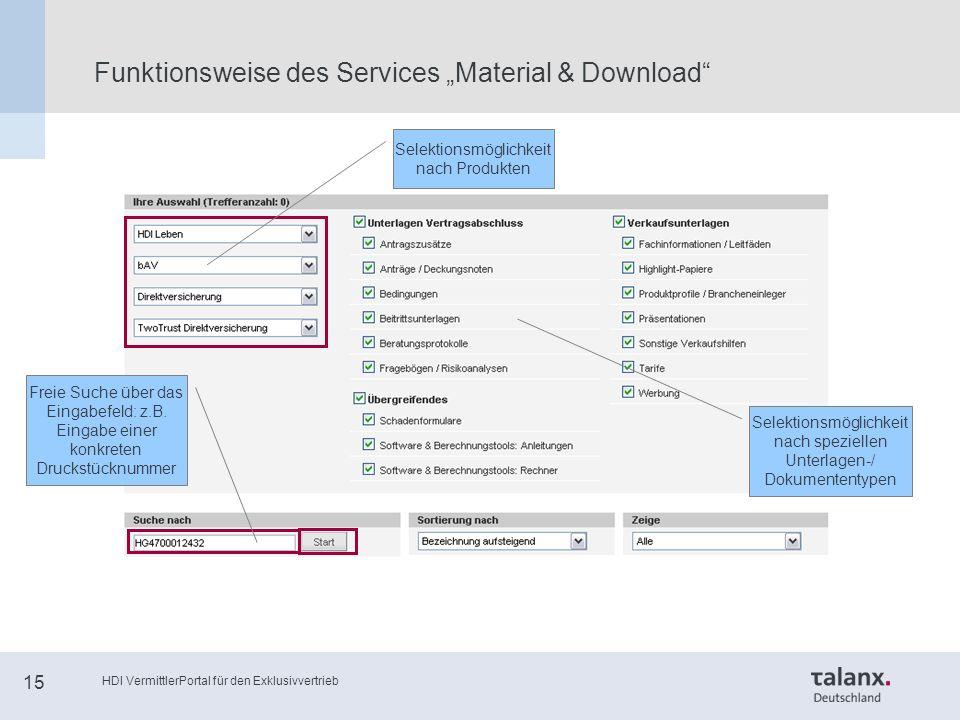 """HDI VermittlerPortal für den Exklusivvertrieb 15 Funktionsweise des Services """"Material & Download Freie Suche über das Eingabefeld: z.B."""