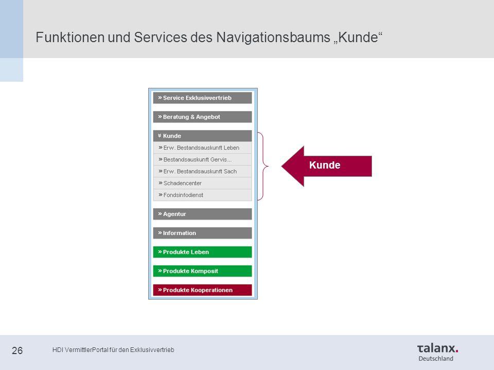 """HDI VermittlerPortal für den Exklusivvertrieb 26 Funktionen und Services des Navigationsbaums """"Kunde Kunde"""
