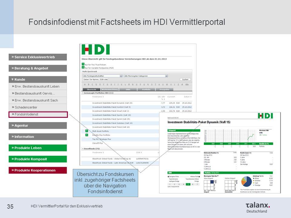 HDI VermittlerPortal für den Exklusivvertrieb 35 Fondsinfodienst mit Factsheets im HDI Vermittlerportal Übersicht zu Fondskursen inkl.