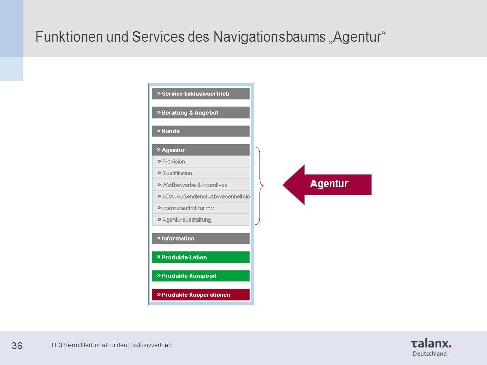 """HDI VermittlerPortal für den Exklusivvertrieb 36 Funktionen und Services des Navigationsbaums """"Agentur Agentur"""