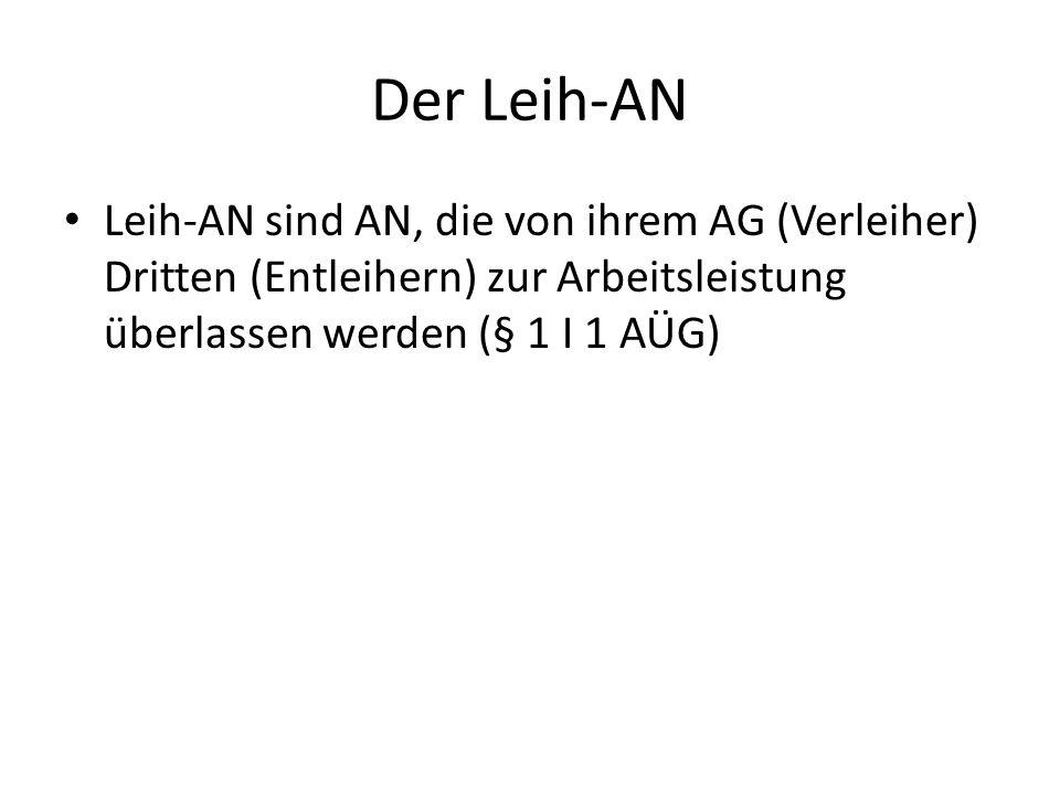Der Leih-AN Leih-AN sind AN, die von ihrem AG (Verleiher) Dritten (Entleihern) zur Arbeitsleistung überlassen werden (§ 1 I 1 AÜG)