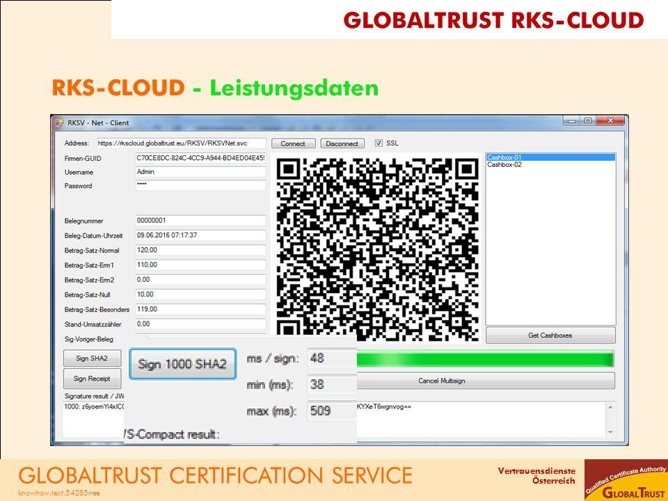 Vertrauensdienste Österreich RKS-CLOUD - Leistungsdaten GLOBALTRUST CERTIFICATION SERVICE knowhow.text.54285nee GLOBALTRUST RKS-CLOUD
