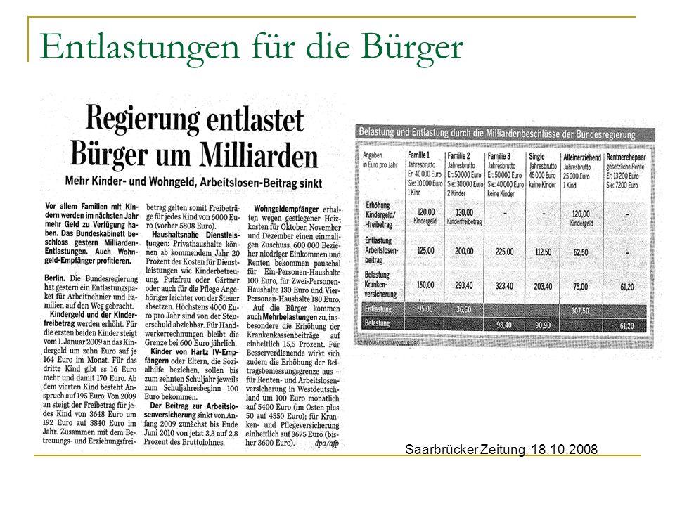 Entlastungen für die Bürger Saarbrücker Zeitung, 18.10.2008