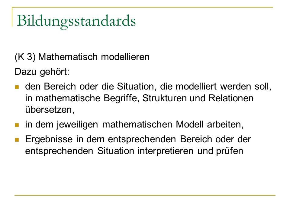 Bildungsstandards (K 3) Mathematisch modellieren Dazu gehört: den Bereich oder die Situation, die modelliert werden soll, in mathematische Begriffe, Strukturen und Relationen übersetzen, in dem jeweiligen mathematischen Modell arbeiten, Ergebnisse in dem entsprechenden Bereich oder der entsprechenden Situation interpretieren und prüfen
