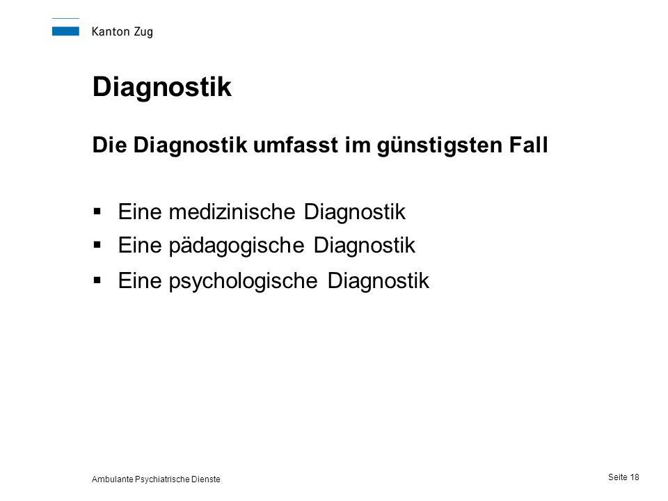 Ambulante Psychiatrische Dienste Seite 18 Diagnostik Die Diagnostik umfasst im günstigsten Fall  Eine medizinische Diagnostik  Eine pädagogische Diagnostik  Eine psychologische Diagnostik