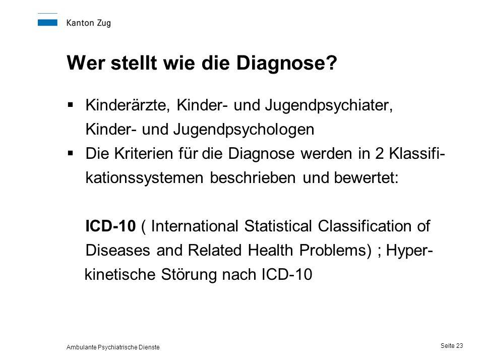 Ambulante Psychiatrische Dienste Seite 23 Wer stellt wie die Diagnose.