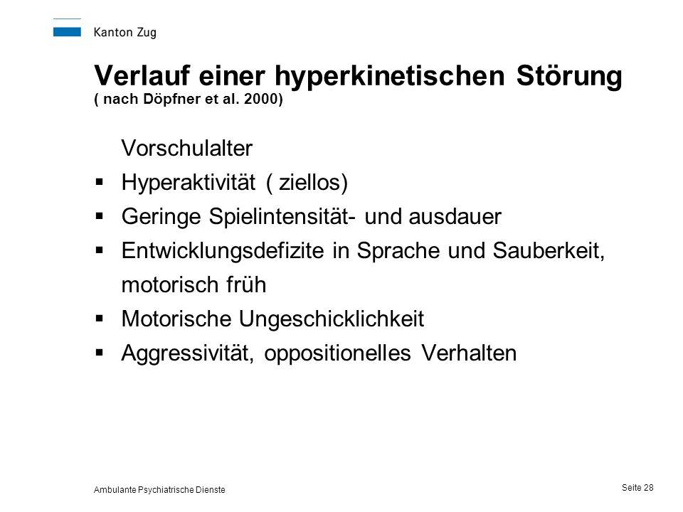Ambulante Psychiatrische Dienste Seite 28 Verlauf einer hyperkinetischen Störung ( nach Döpfner et al.