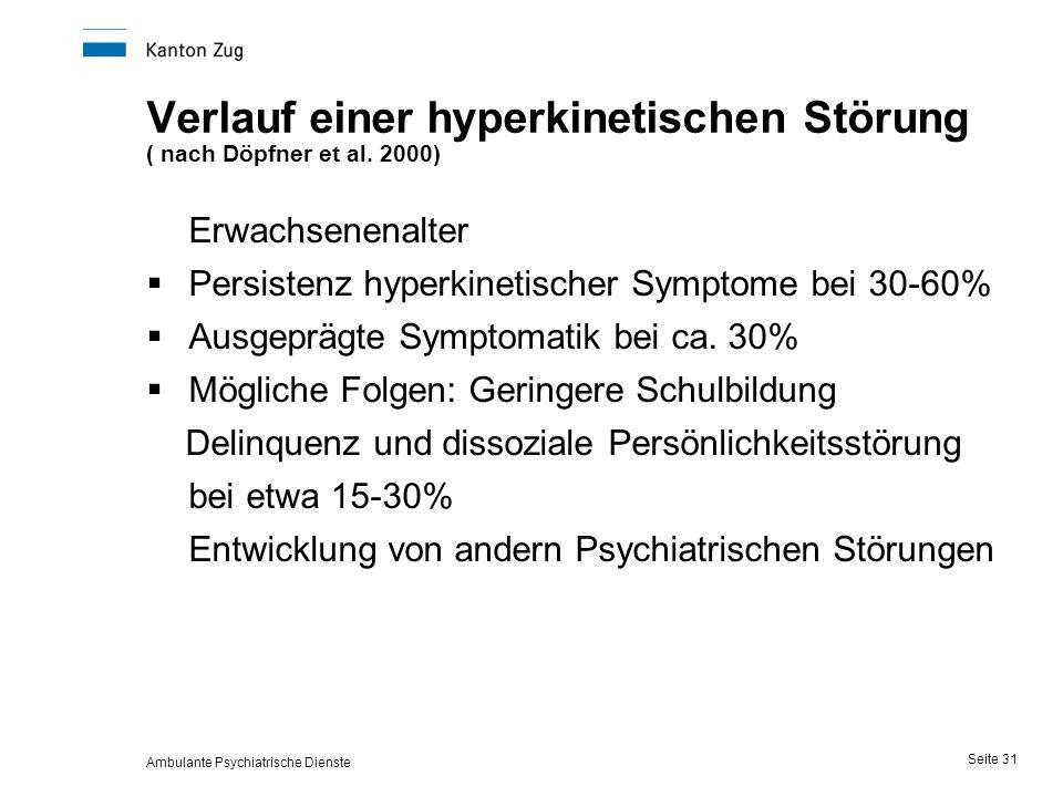 Ambulante Psychiatrische Dienste Seite 31 Verlauf einer hyperkinetischen Störung ( nach Döpfner et al.