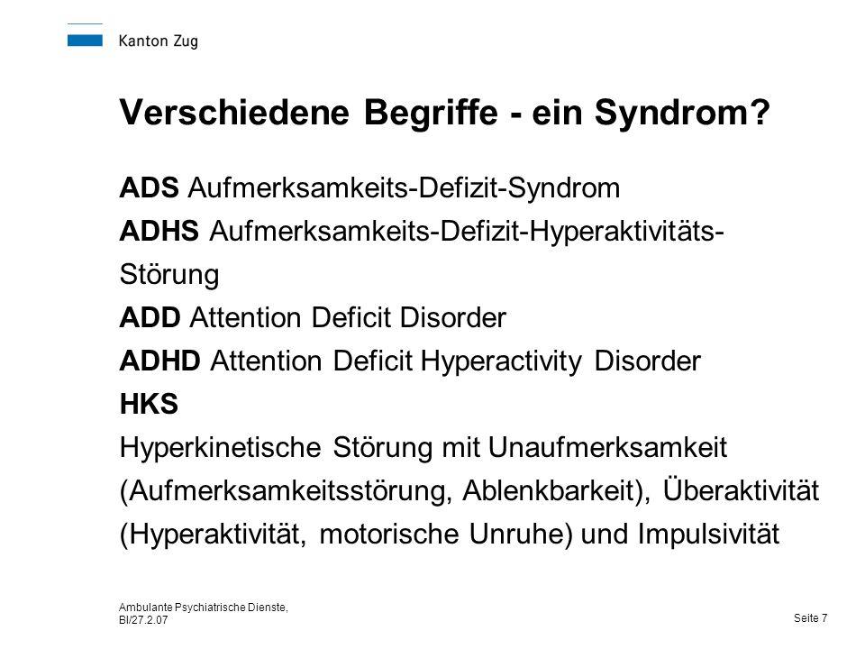Ambulante Psychiatrische Dienste, Bl/27.2.07 Seite 7 Verschiedene Begriffe - ein Syndrom.