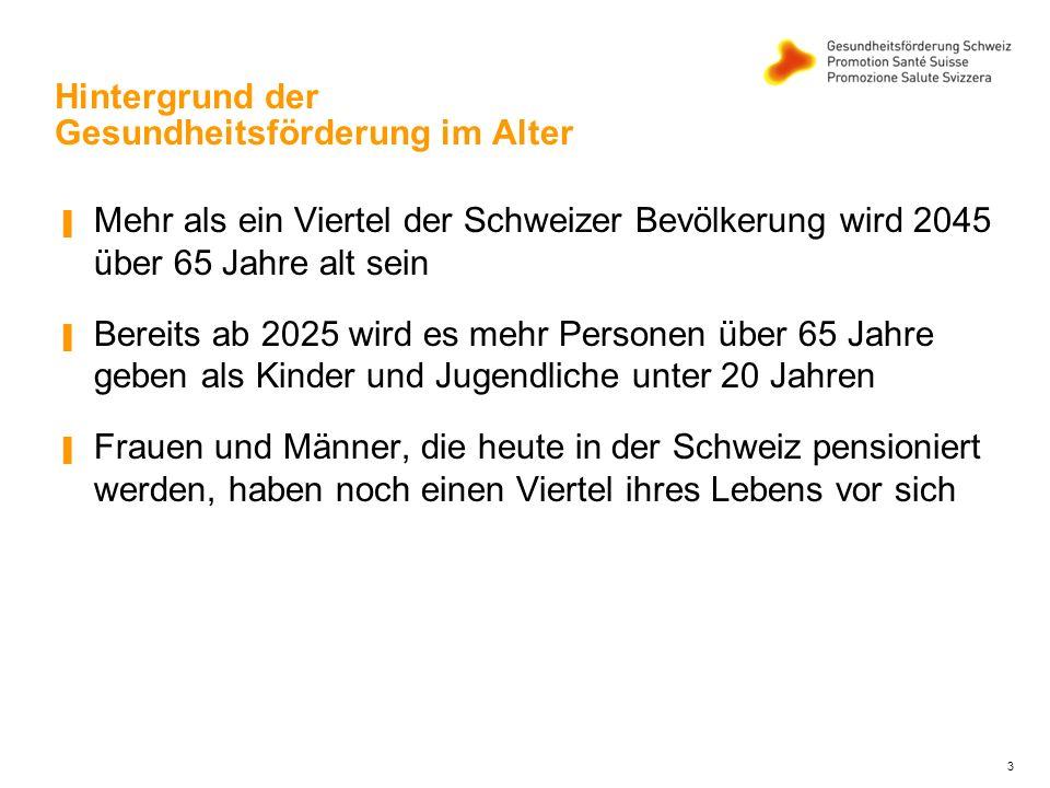 3 Hintergrund der Gesundheitsförderung im Alter ▐ Mehr als ein Viertel der Schweizer Bevölkerung wird 2045 über 65 Jahre alt sein ▐ Bereits ab 2025 wird es mehr Personen über 65 Jahre geben als Kinder und Jugendliche unter 20 Jahren ▐ Frauen und Männer, die heute in der Schweiz pensioniert werden, haben noch einen Viertel ihres Lebens vor sich