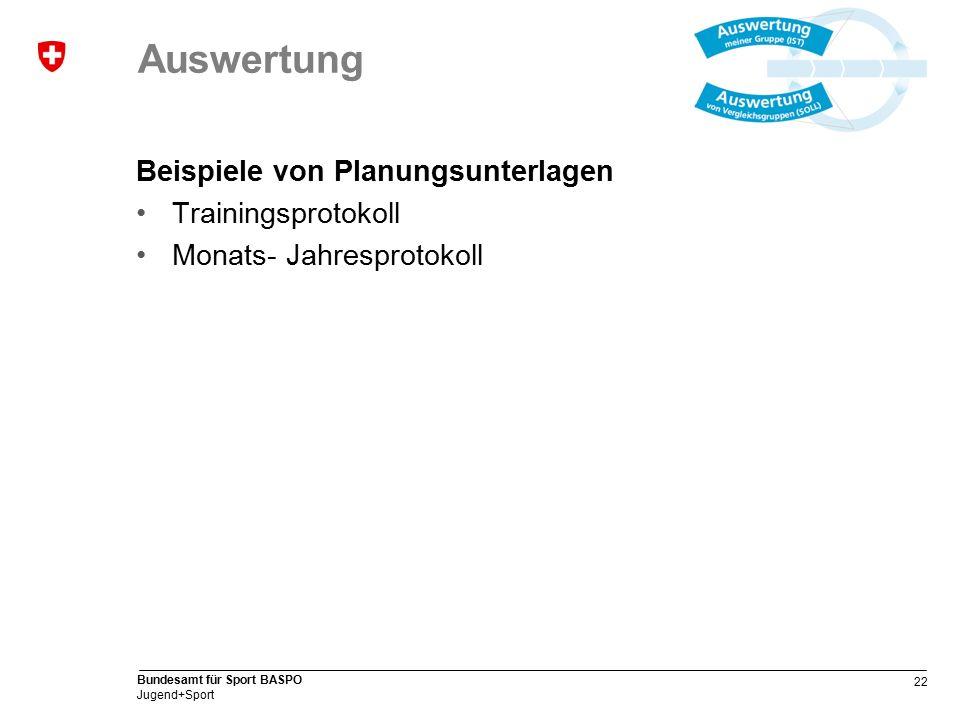 22 Bundesamt für Sport BASPO Jugend+Sport Auswertung Beispiele von Planungsunterlagen Trainingsprotokoll Monats- Jahresprotokoll