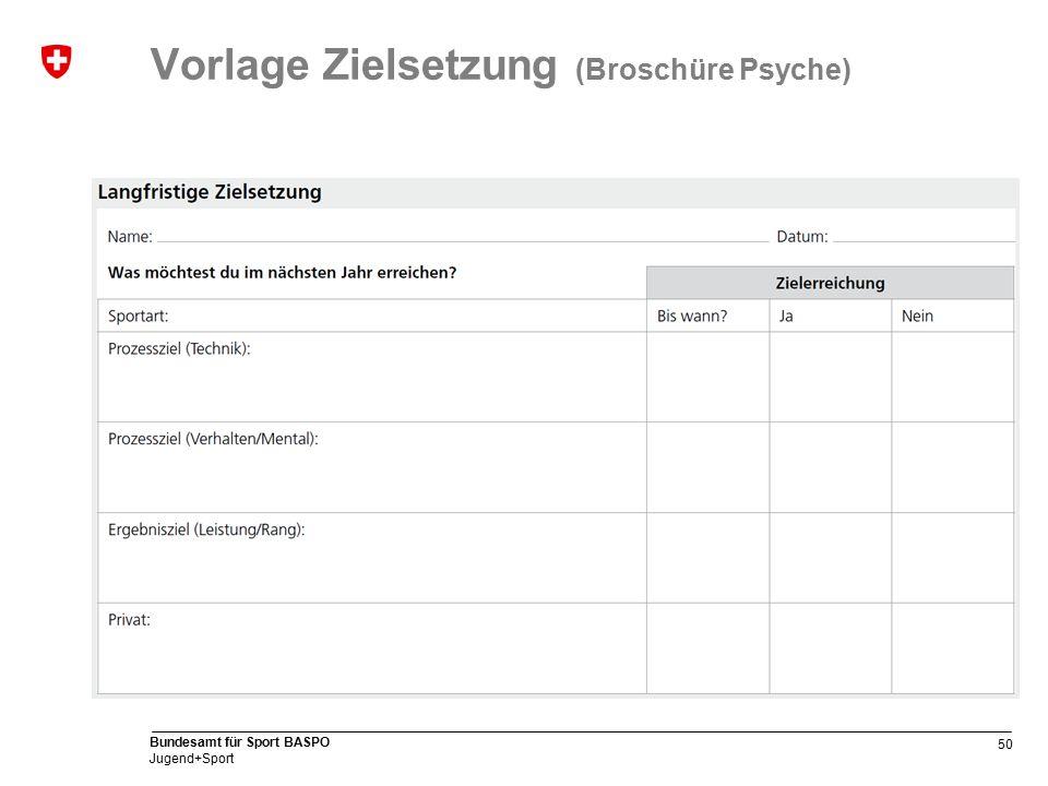 50 Bundesamt für Sport BASPO Jugend+Sport Vorlage Zielsetzung (Broschüre Psyche)