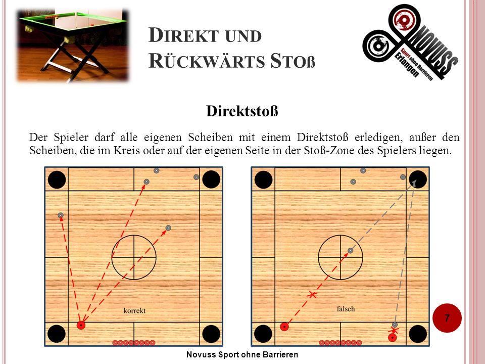 D IREKT UND R ÜCKWÄRTS S TOß Der Spieler darf alle eigenen Scheiben mit einem Direktstoß erledigen, außer den Scheiben, die im Kreis oder auf der eigenen Seite in der Stoß-Zone des Spielers liegen.