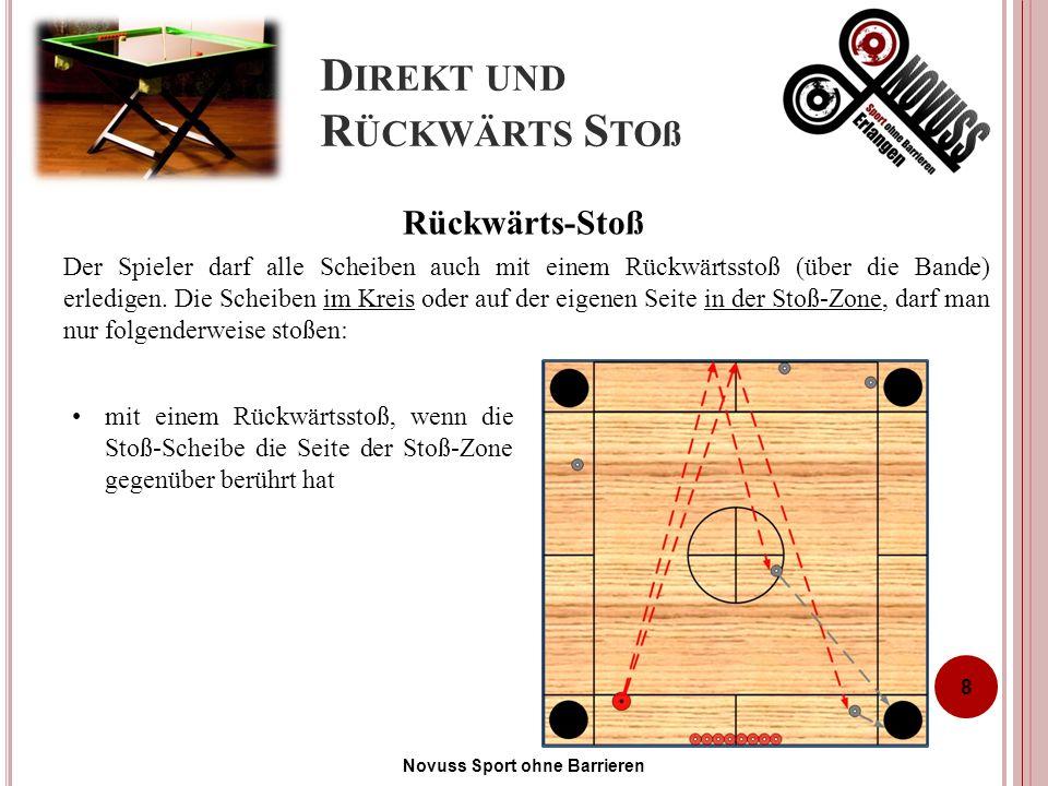 D IREKT UND R ÜCKWÄRTS S TOß Der Spieler darf alle Scheiben auch mit einem Rückwärtsstoß (über die Bande) erledigen.