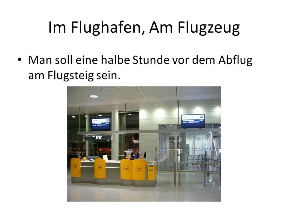 Im Flughafen, Am Flugzeug Man soll eine halbe Stunde vor dem Abflug am Flugsteig sein.