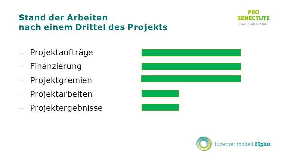 Stand der Arbeiten nach einem Drittel des Projekts Projektaufträge Finanzierung Projektgremien Projektarbeiten Projektergebnisse