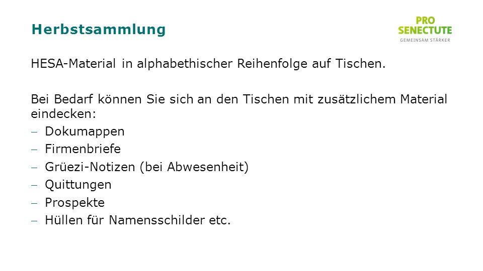 Herbstsammlung HESA-Material in alphabethischer Reihenfolge auf Tischen.