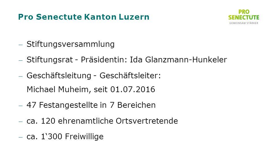 Pro Senectute Kanton Luzern Stiftungsversammlung Stiftungsrat - Präsidentin: Ida Glanzmann-Hunkeler Geschäftsleitung - Geschäftsleiter: Michael Muheim, seit 01.07.2016 47 Festangestellte in 7 Bereichen ca.
