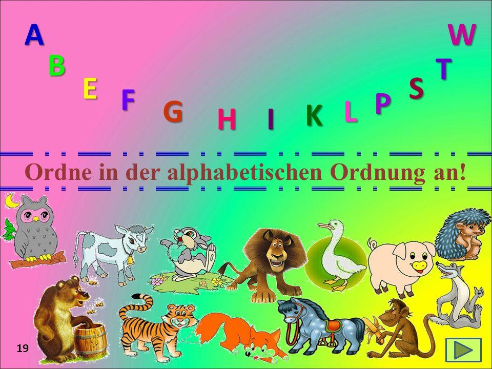 19 Ordne in der alphabetischen Ordnung an! A B E F G HI K L P S T W