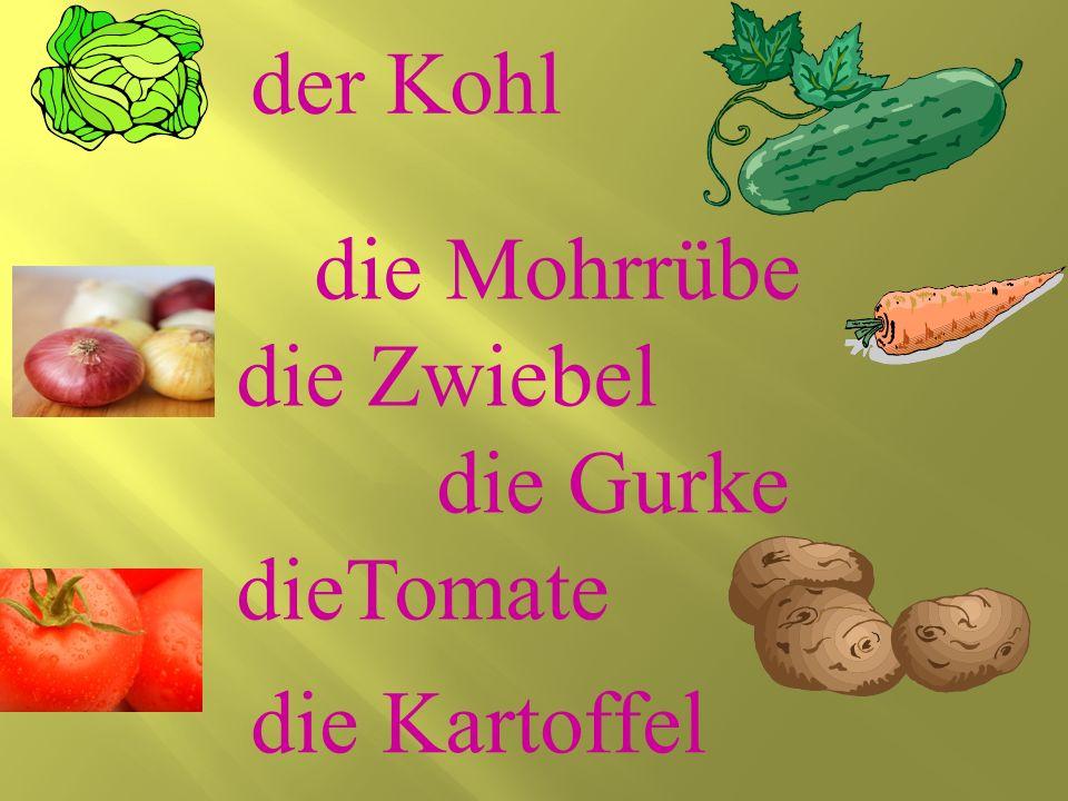 die Mohrrübe die Zwiebel die Gurke dieTomate die Kartoffel der Kohl