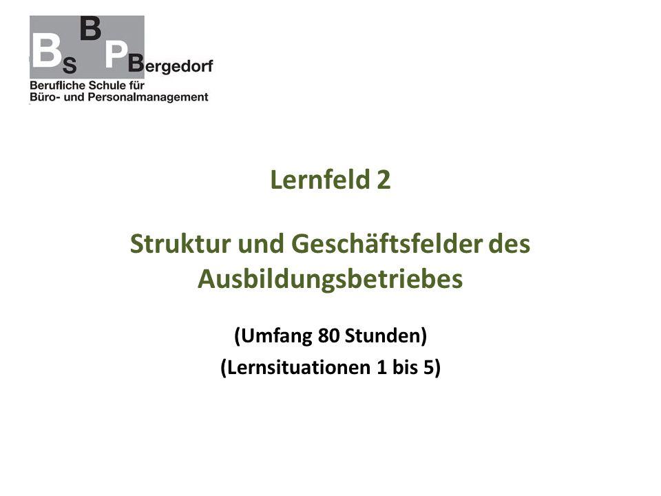 Lernfeld 2 Struktur und Geschäftsfelder des Ausbildungsbetriebes (Umfang 80 Stunden) (Lernsituationen 1 bis 5)