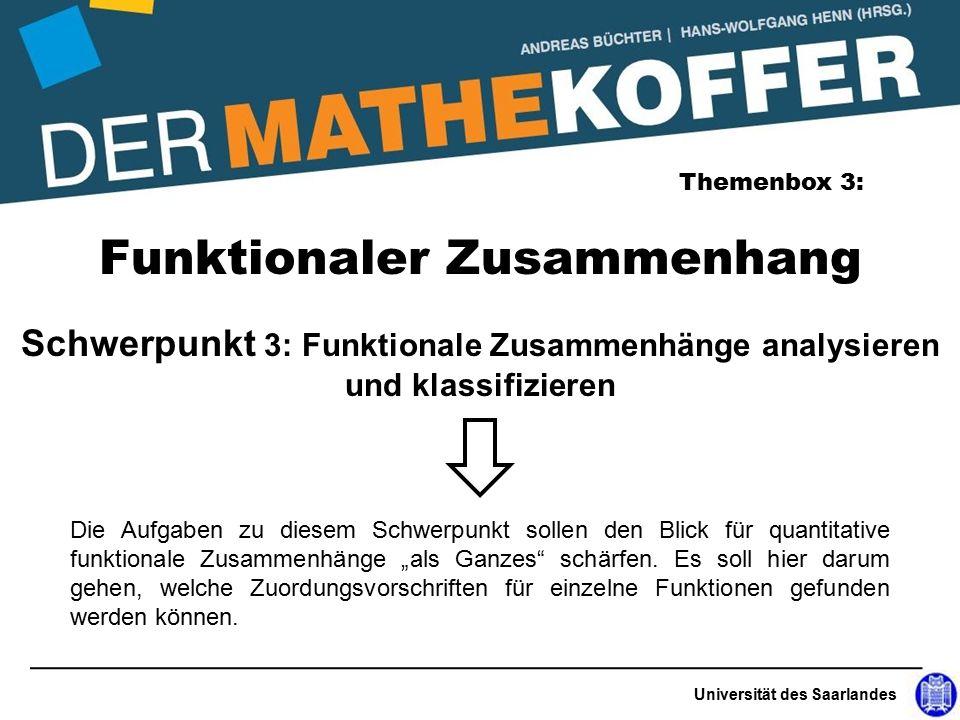 """Universität des Saarlandes Funktionaler Zusammenhang Themenbox 3: Schwerpunkt 3: Funktionale Zusammenhänge analysieren und klassifizieren Die Aufgaben zu diesem Schwerpunkt sollen den Blick für quantitative funktionale Zusammenhänge """"als Ganzes schärfen."""