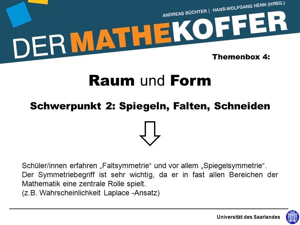"""Universität des Saarlandes Raum und Form Themenbox 4: Schwerpunkt 2: Spiegeln, Falten, Schneiden Schüler/innen erfahren """"Faltsymmetrie und vor allem """"Spiegelsymmetrie ."""