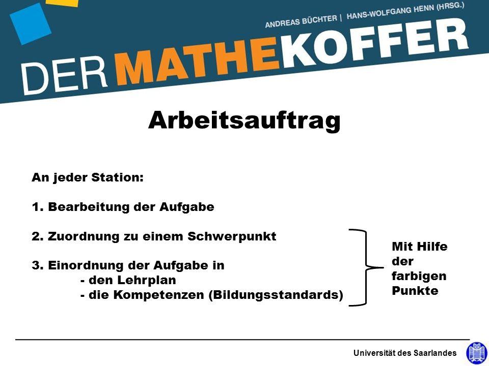 nor Universität des Saarlandes Arbeitsauftrag An jeder Station: 1.