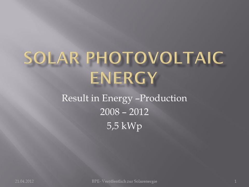 21.04.2012BPE- Veröffentlich zur Solarenergie1 Result in Energy –Production 2008 – 2012 5,5 kWp