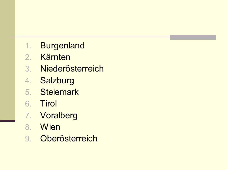 1. Burgenland 2. Kärnten 3. Niederösterreich 4.