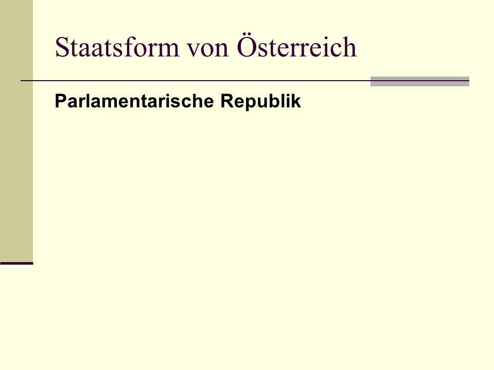 Staatsform von Österreich Parlamentarische Republik