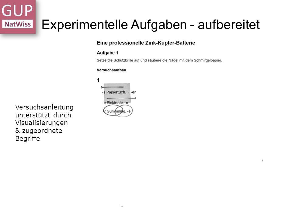 Experimentelle Aufgaben - aufbereitet Versuchsanleitung unterstützt durch Visualisierungen & zugeordnete Begriffe