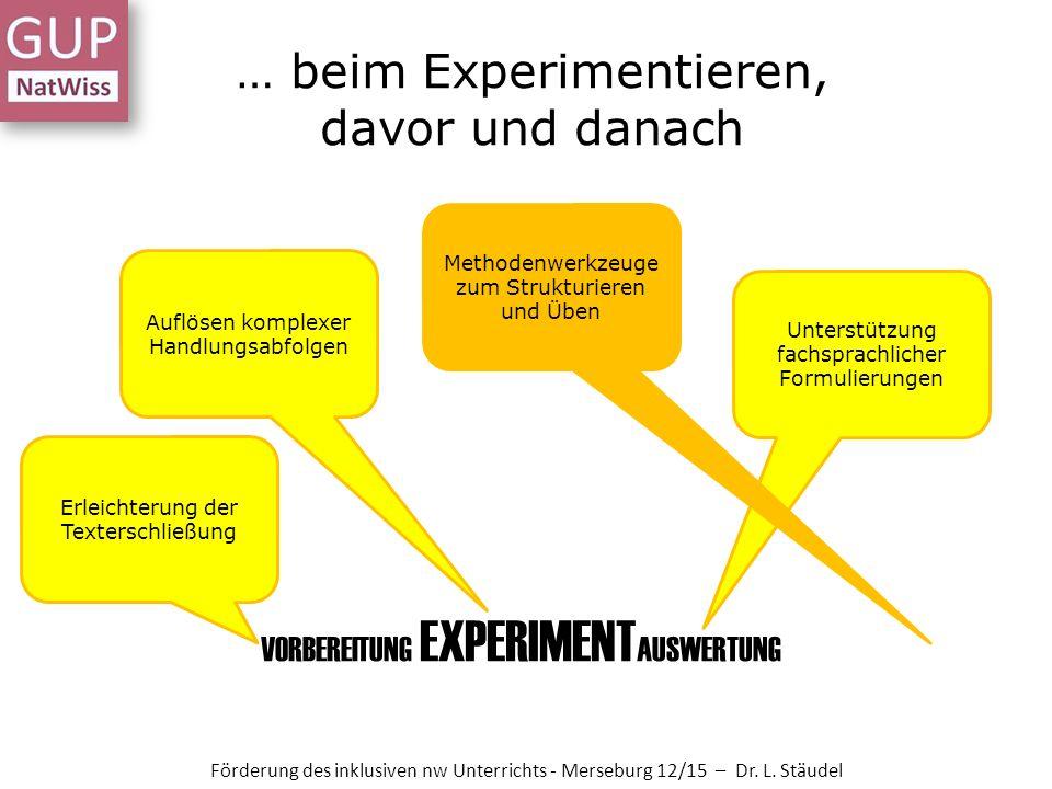 … beim Experimentieren, davor und danach Förderung des inklusiven nw Unterrichts - Merseburg 12/15 – Dr.