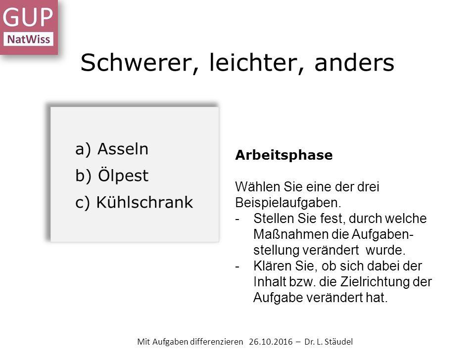 Schwerer, leichter, anders Mit Aufgaben differenzieren 26.10.2016 – Dr.
