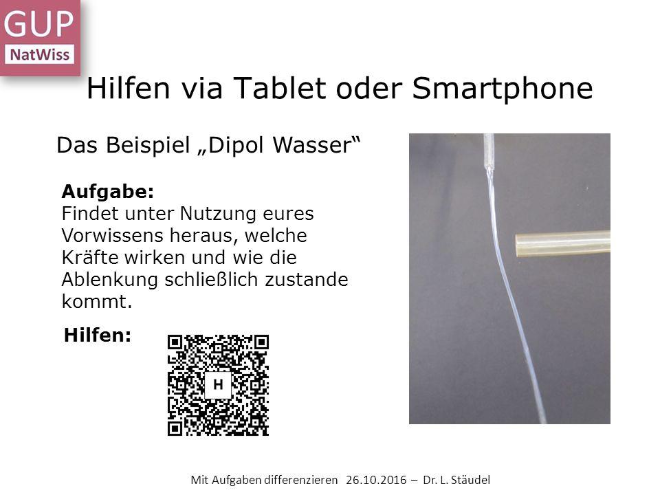 """Hilfen via Tablet oder Smartphone Das Beispiel """"Dipol Wasser Aufgabe: Findet unter Nutzung eures Vorwissens heraus, welche Kräfte wirken und wie die Ablenkung schließlich zustande kommt."""