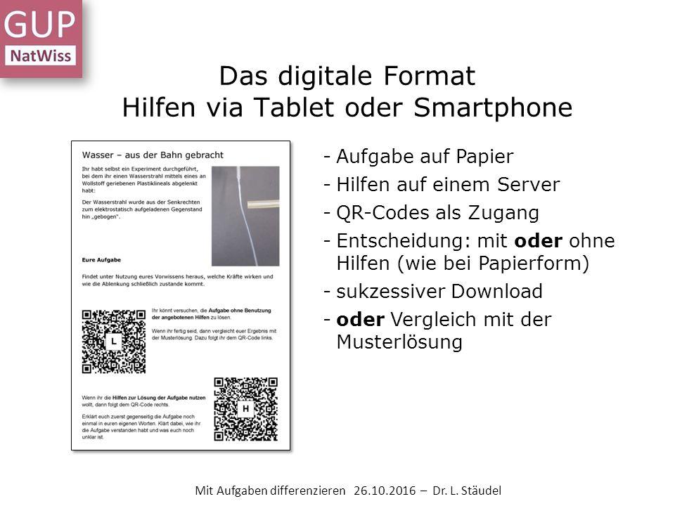 Das digitale Format Hilfen via Tablet oder Smartphone -Aufgabe auf Papier -Hilfen auf einem Server -QR-Codes als Zugang -Entscheidung: mit oder ohne Hilfen (wie bei Papierform) -sukzessiver Download -oder Vergleich mit der Musterlösung Mit Aufgaben differenzieren 26.10.2016 – Dr.