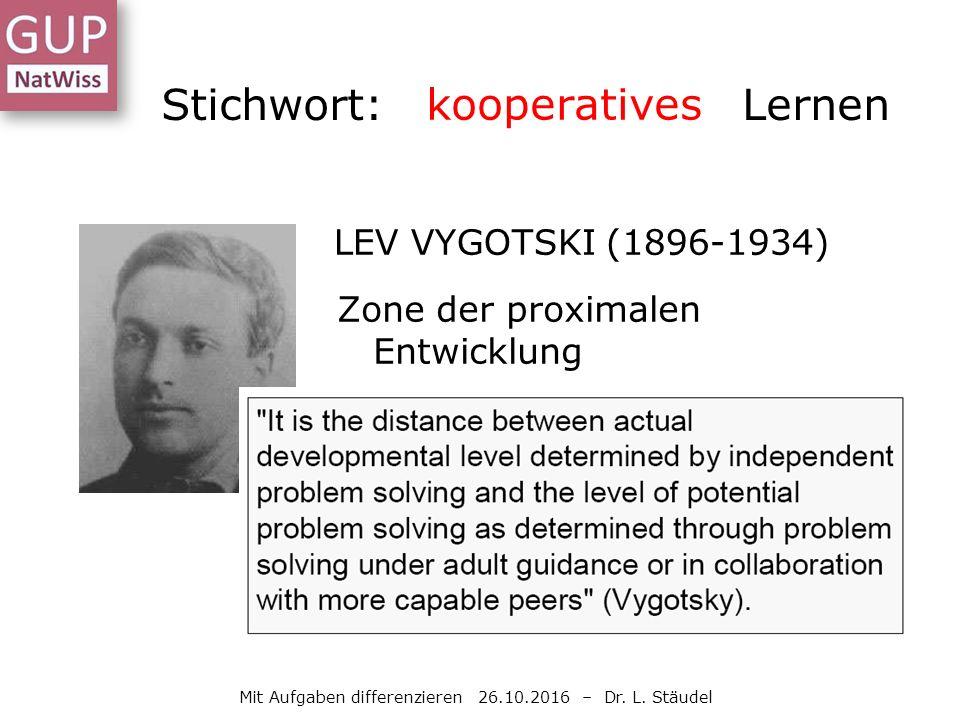LEV VYGOTSKI (1896-1934) Zone der proximalen Entwicklung Stichwort: selbstständiges Lernen Mit Aufgaben differenzieren 26.10.2016 – Dr.