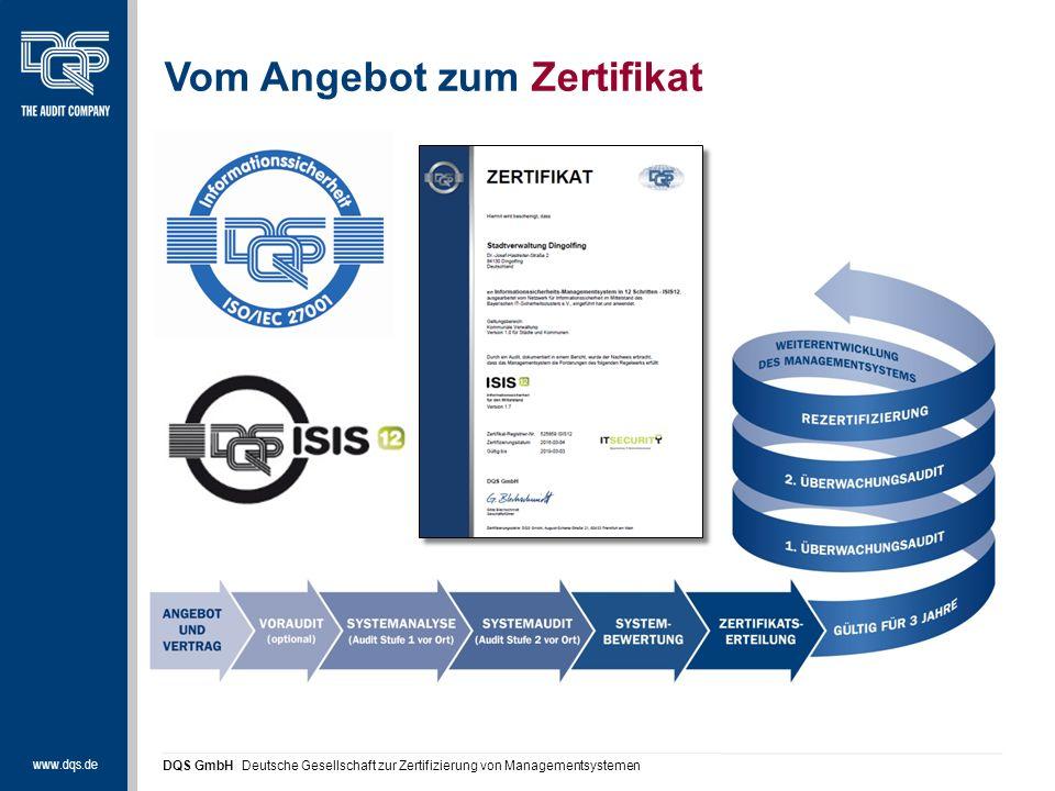 www.dqs.de DQS GmbH Deutsche Gesellschaft zur Zertifizierung von Managementsystemen Vom Angebot zum Zertifikat