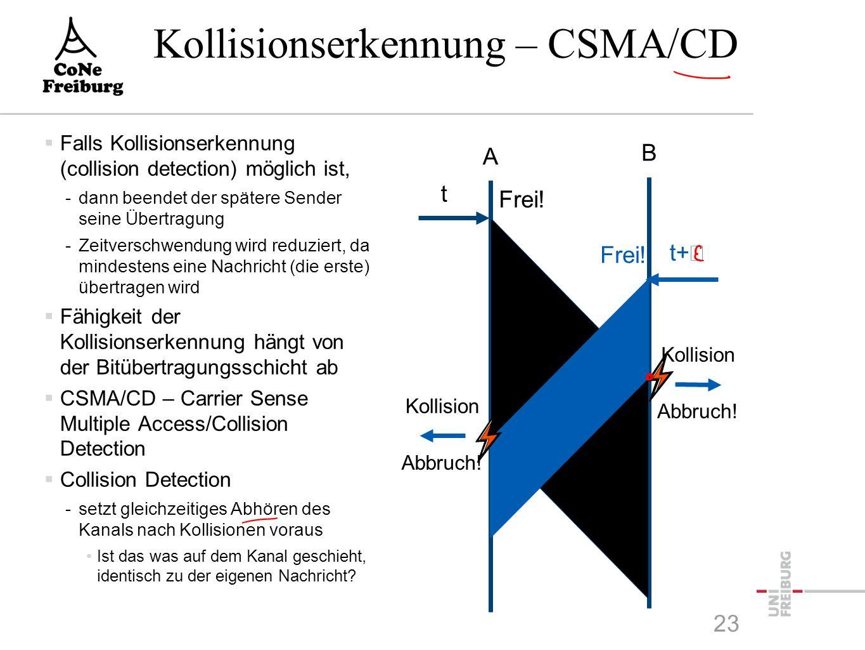 Kollisionserkennung – CSMA/CD  Falls Kollisionserkennung (collision detection) möglich ist, -dann beendet der spätere Sender seine Übertragung -Zeitverschwendung wird reduziert, da mindestens eine Nachricht (die erste) übertragen wird  Fähigkeit der Kollisionserkennung hängt von der Bitübertragungsschicht ab  CSMA/CD – Carrier Sense Multiple Access/Collision Detection  Collision Detection -setzt gleichzeitiges Abhören des Kanals nach Kollisionen voraus Ist das was auf dem Kanal geschieht, identisch zu der eigenen Nachricht.