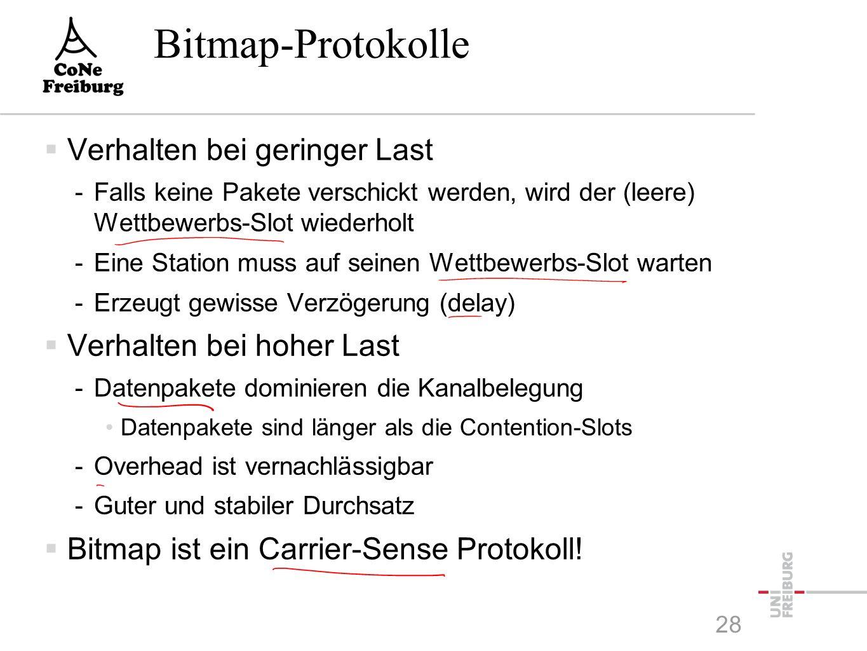 Bitmap-Protokolle  Verhalten bei geringer Last -Falls keine Pakete verschickt werden, wird der (leere) Wettbewerbs-Slot wiederholt -Eine Station muss auf seinen Wettbewerbs-Slot warten -Erzeugt gewisse Verzögerung (delay)  Verhalten bei hoher Last -Datenpakete dominieren die Kanalbelegung Datenpakete sind länger als die Contention-Slots -Overhead ist vernachlässigbar -Guter und stabiler Durchsatz  Bitmap ist ein Carrier-Sense Protokoll.