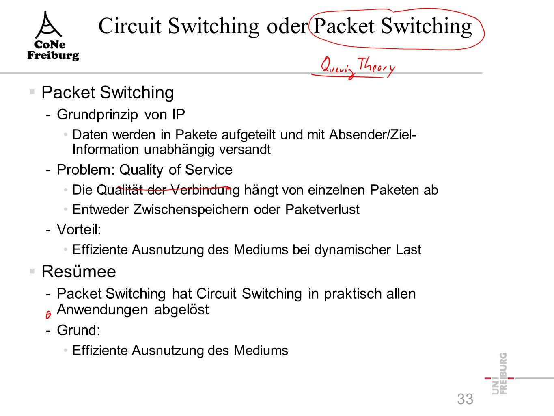 Circuit Switching oder Packet Switching  Packet Switching -Grundprinzip von IP Daten werden in Pakete aufgeteilt und mit Absender/Ziel- Information unabhängig versandt -Problem: Quality of Service Die Qualität der Verbindung hängt von einzelnen Paketen ab Entweder Zwischenspeichern oder Paketverlust -Vorteil: Effiziente Ausnutzung des Mediums bei dynamischer Last  Resümee -Packet Switching hat Circuit Switching in praktisch allen Anwendungen abgelöst -Grund: Effiziente Ausnutzung des Mediums 33
