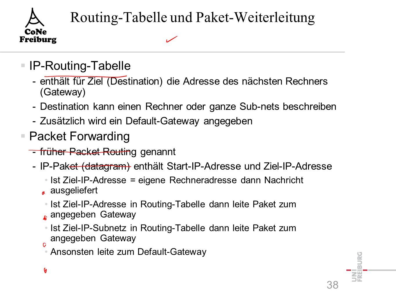 Routing-Tabelle und Paket-Weiterleitung  IP-Routing-Tabelle -enthält für Ziel (Destination) die Adresse des nächsten Rechners (Gateway) -Destination kann einen Rechner oder ganze Sub-nets beschreiben -Zusätzlich wird ein Default-Gateway angegeben  Packet Forwarding -früher Packet Routing genannt -IP-Paket (datagram) enthält Start-IP-Adresse und Ziel-IP-Adresse Ist Ziel-IP-Adresse = eigene Rechneradresse dann Nachricht ausgeliefert Ist Ziel-IP-Adresse in Routing-Tabelle dann leite Paket zum angegeben Gateway Ist Ziel-IP-Subnetz in Routing-Tabelle dann leite Paket zum angegeben Gateway Ansonsten leite zum Default-Gateway 38